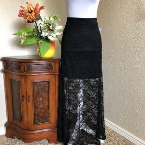 Ultra Flirt Black Lace Maxi Skirt